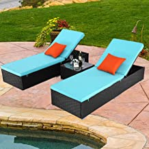 Do4U 3 Pcs Outdoor Patio Synthetic Adjustable Rattan Wicker Furniture Pool Chaise Lounge Chair Set with Table - EXP Rattan with Turquoise Cover (7223-EXP)