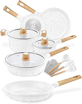 Non-stick induction cookware set -pack -13-White & 10.2 inch Non-stick induction frying pan - White