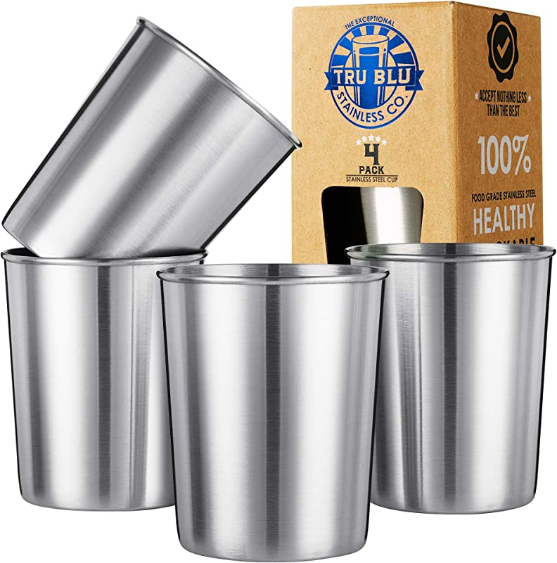 Kids Stainless Steel Cups 8oz Set Of 4 Metal Drinking Glasses Premium Stackable Shatterproof Travel Lightweight Unbreakable Portable BPA Free