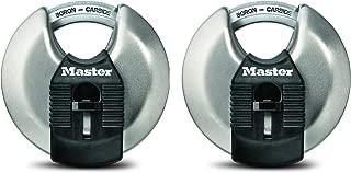 Master Lock Padlock, Magnum Stainless Steel Discus Lock, 2-3/4 in. Wide, M40XT (Pack of 2-Keyed Alike)