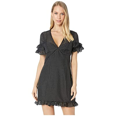 BCBGeneration Cocktail Fit Flare Seamed Woven Dress (Black) Women