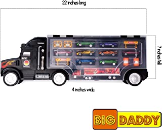 Big Daddy Super Mega Extra Large Tractor Trailer Car Collection Case Carrier Transport Toy Truck for Kids Includes 8 Cars 1 Small Tractor Trailer & 6 More Accessories, 22 Inch Super Duty Truck