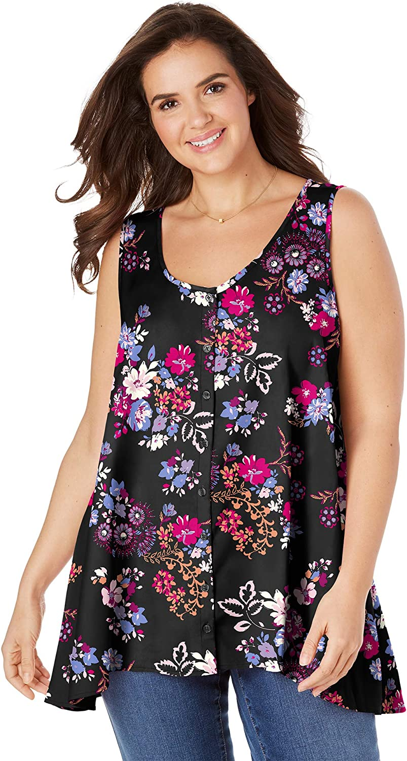 Woman Within Women's Plus Size High-Low Button Front Tank Top