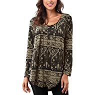Bzonly Women Floral Print Tunic Tops Button Up Short Sleeve Summer T Shirt Blouse