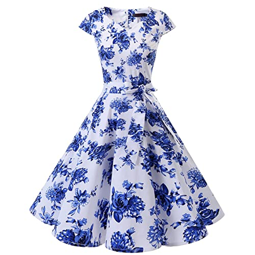 f231047f8c84 DRESSTELLS Retro 1950s Cocktail Dresses Vintage Swing Dress with Cap-Sleeves
