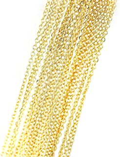 Sparik Enjoy 10 PCS 18K Real Gold Plated Solid Brass Thin O Chain Necklace 1 MM Finished Chain Bulk for Jewelry Making, Si...
