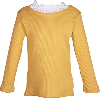 ContiKids Toddler Girls Long Sleeve Cotton Tee Shirts Ruffle Lace Turtleneck Base Blouse Tops