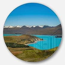 """Designart MT10194 C23 Fantastic Calm Landscape of New Zealand Landscape Circle Wall Art Disc, 23"""" x 23"""", Blue"""