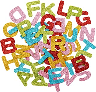 Alphatool 156 Pcs Colorful Glitter Foam Stickers Letter Sticker- 6 Sets Self Adhesive A-Z Letters for Children Kids Arts Craft Greeting Cards Homemade Supplies Home Decoration (Letter)