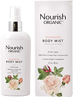 Nourish Organic Body and Face Rosewater Mist, 3 Ounce (Packagin may vary)