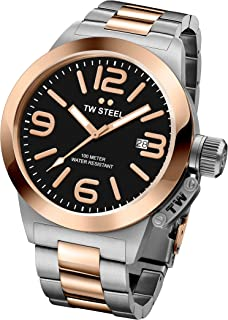 TW Steel Canteen Unisex Quartz Watch with Black Dial Analogue Display and Grey Stainless Steel Rose Gold Plated Bracelet CB405