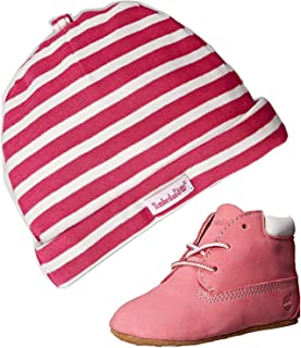 Timberland Baby Girl's Crib Shoes Bootie Pink Soft Bottom 9680R Gift Set