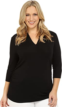 Plus Size 3/4 Sleeve Pleat V-Neck Top
