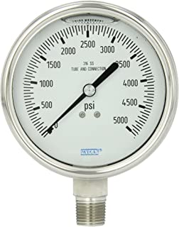 WIKA 9832721 Industrial Pressure Gauge, Liquid-Filled, Stainless Steel 316L Wetted Parts, 4
