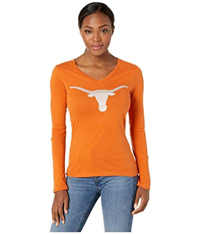 289c Apparel Texas Longhorns Thea Long Sleeve V-Neck Tee (Texas Orange) Women
