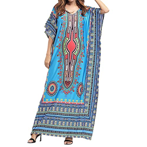 a264dff8cae Amoretu Womens Caftan Casual V-Neck African Print Bat Sleeves Loose Maxi  Dress