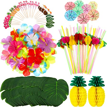 198 Pieces Hawaiian Party Decorations Set Including 2 Tissue Paper Pineapples 24 Tropical Palm Leaves 24 Hibiscus Flowers 48 Flamingo Cupcake Toppers 50 Colorful Umbrella and 50 3D Fruit Straws