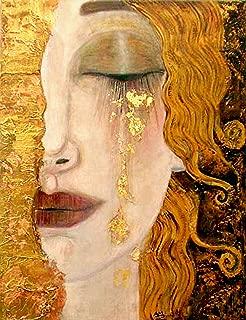 Freya's Tears of Gold 8.5x11 Photo Print in The Style of Gustav Klimt Woman Crying Portrait Art