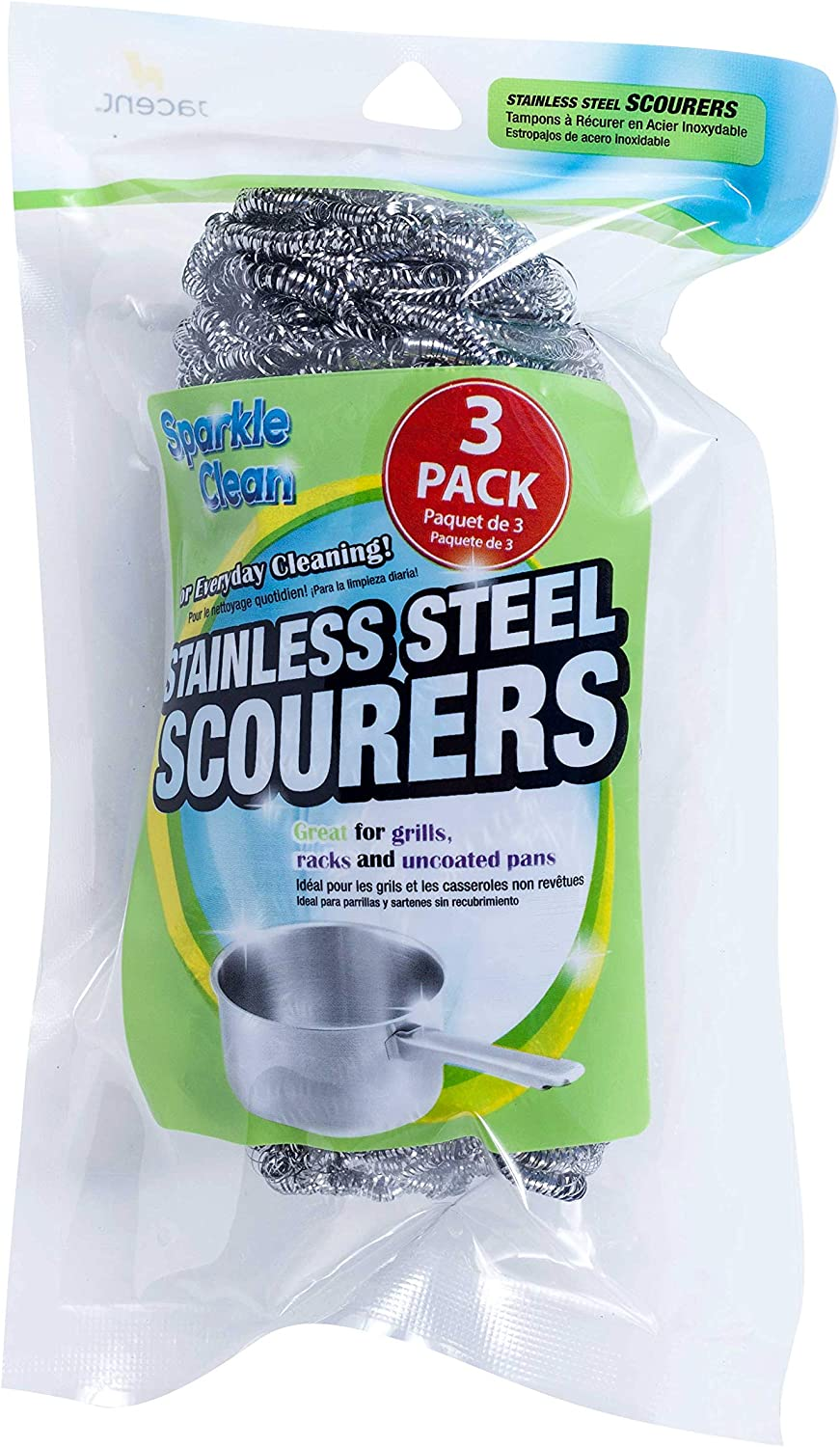 Jacent Everyday Max 44% OFF Stainless Steel Scourers Pack 3 - Per Bombing free shipping 1