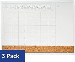 "AmazonBasics 3 in 1 Combo Dry Erase Calendar Board, Plastic Frame, 17"" x 23"", 3 Pack"