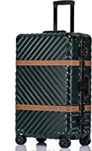 Clothink Aluminum Frame 28 Inch Hardside Fashion Luggage with Detachable Spinner Wheels, Dark Green