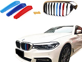 Jackey Awesome Exact Fit ///M-Colored Grille Insert Trims for 2017-2018 BMW G30 G31 G38 5 Series 525i 530i 540i 550i with M-Performance Black Kidney Grill (for BMW 2018 5 Series,9 Beams)