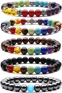 J.Fée Bracelet Feng Shui Bracelet Extensible en Pierre Naturelle Bracelet de Richesse Chanceux Bracelet de Yoga Hommes Cad...