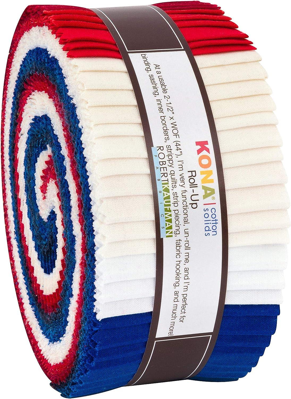 Robert Kaufman Max 84% OFF Kona Baltimore Mall Cotton Solids Roll Patriotic Up Precut 2.5