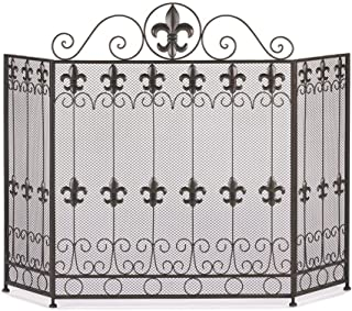 25 Home Decor Fireplace French Revival FIRE Place Screen Metal Iron Fleur di lis