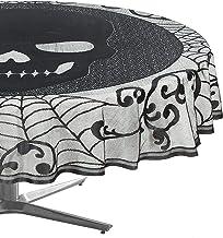 مفرش طاولة دائري من الدانتيل بتصميم جمجمة عدد 2 من أماسكا، أسود، 177.8 سم مستدير