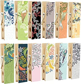 12pcs Refrigerator Magnet Clips by Cosylove-Decorative Magnetic Clips Made of Wood with Beautiful Patterns–Super Fridge Magnets for House Office Use - Display Photos,Memos, Lists, Calendars (Bird)