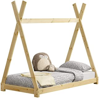 Barnsäng Juniorsäng Sängstomme Tipitält Natur Furu 160x80cm