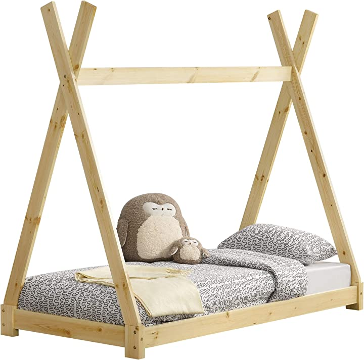 Letto per bambini 80 x 160 cm design teepee indiano lettino a tenda legno di pino [en.casa] B07LCP4XBJ