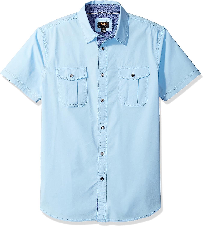 LEE Mens Size Short Sleeve Woven Shirt, Powder, X-Large Tall