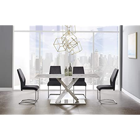 Acme Forbes White Marble Dining Table Walnut Finish Tables