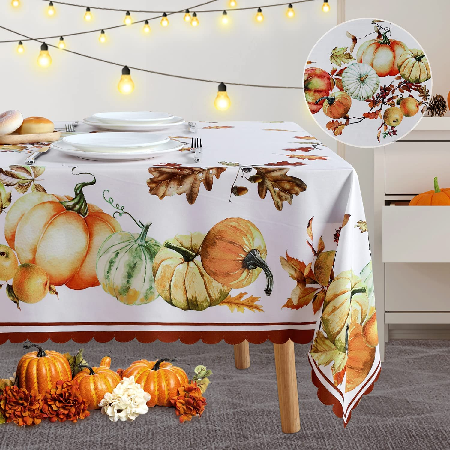 Fitable Thanksgiving 2021 Tablecloth Popularity Pumpkins Fabr Printed