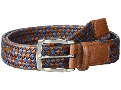 Torino Leather Co. 35 mm Braided Leather Linen Stretch (Cognac/Navy) Men