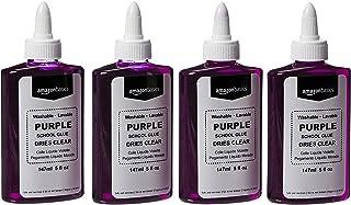 Amazon Basics Purple Washable Liquid School Glue, Dries Clear, 5 oz Bottle, 4-Pack