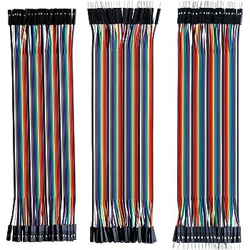 ELEGOO 120pcs 3 in 1 Kit Cavetti Jumper Filo Dupont Multicolore Wire 28AWG Cavi 40 pezzi da M/F Maschio a Femmina, 40 pezzi da Maschio a Maschio, 40 pezzi da Femmina a Femmina per Arduino Raspberry Pi