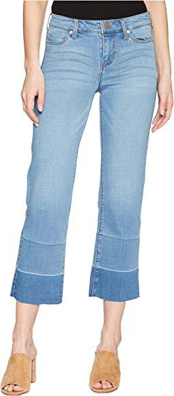 Liverpool - Carter Crop Straight with Release Hem in Crosshatch Stretch Denim in Hearst