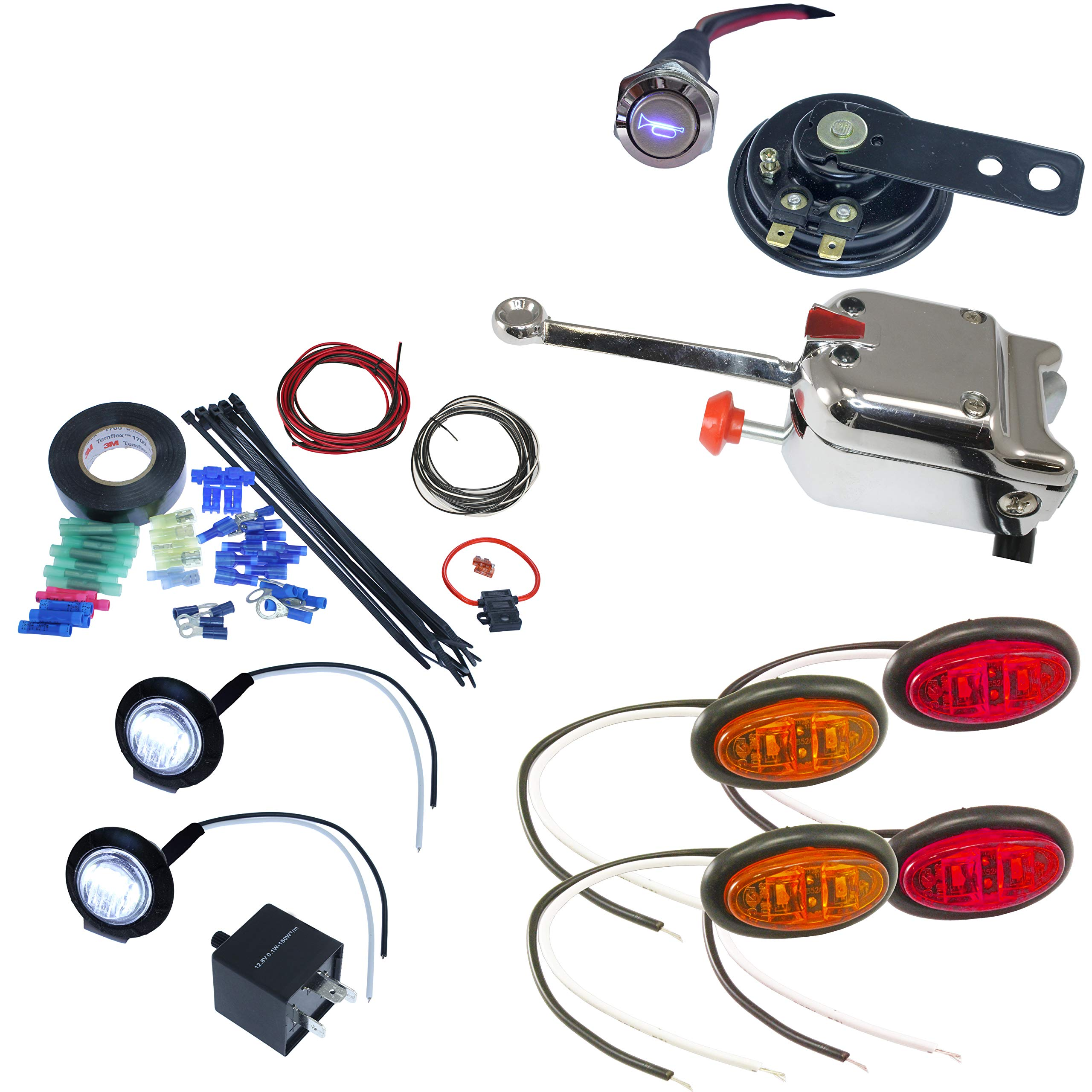 UTV ATV Turn Signal Kit with Horn Oval LED, Lever Switch