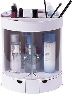 Basicwise QI003395 White Plastic Makeup Organizer with Sliding Doors, Grey
