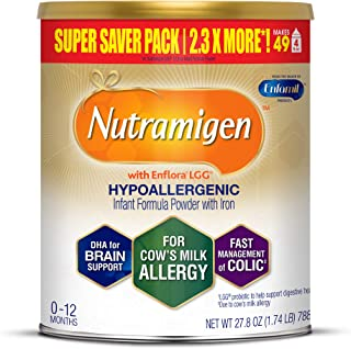 Enfamil Nutramigen Hypoallergenic Colic Baby Formula, Lactose Free Milk Powder, 27.8 Ounce - Omega 3 DHA, LGG Probiotics, Iron, Immune Support, Pack of 1 (Package May Vary)