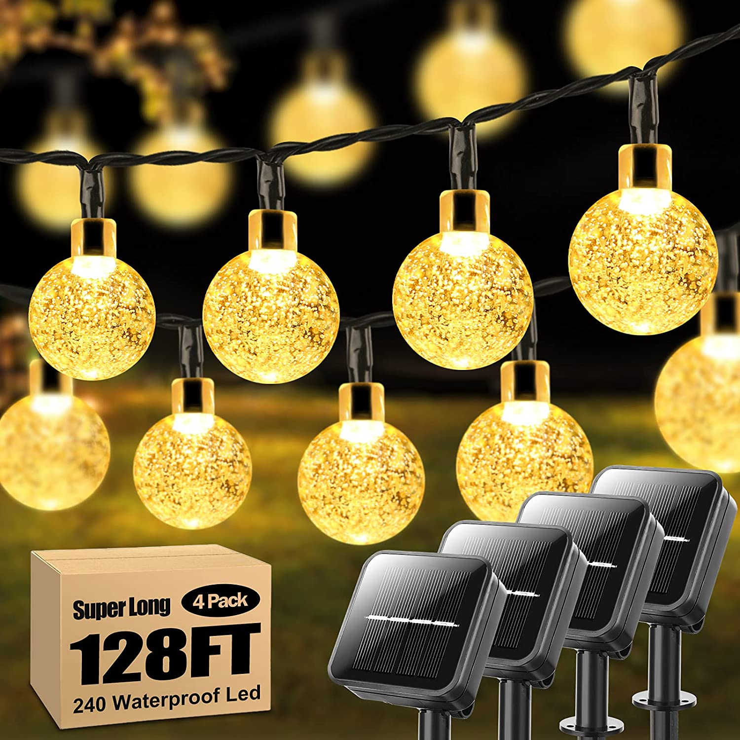 4-Pack 240 LED 128FT Solar String Lights Outdoor Crystal Globe Decorative Light Strings with 8 Modes, Waterproof Solar Powered Patio String Lights for Garden Tree Gazebo Patio Backyard, Warm White