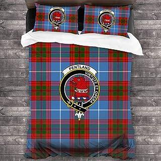 "Jun2K Comforters Duvet Covers Quilt Cover Pentland Tartan Clan Badge 3-Piece Bedding Set 86""x70"""