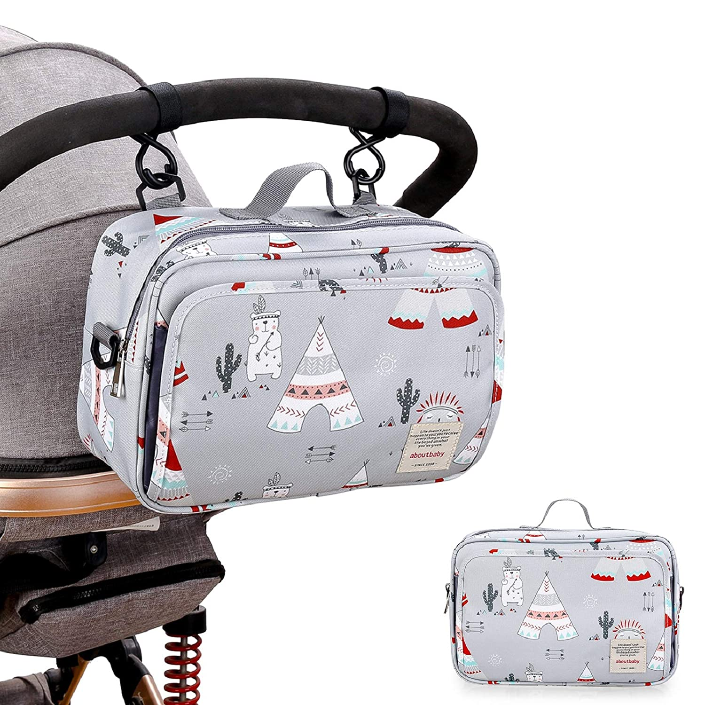 KADUNDI Baby Universal Stroller Organizer with Insulated Cup Holders,Waterproof Stroller Accessories Detachable Shoulder Strap Baby Stroller Organizer Bag,Grey