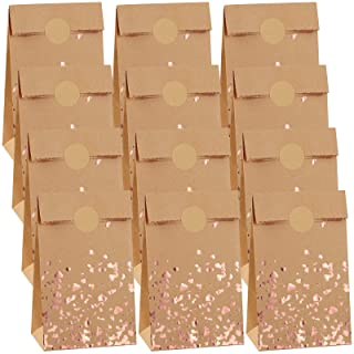 Cooraby 30 Pieces Mini Bronzing Rose Gold Kraft Paper Bags Mini Candy Sweet Paper 3.5 x 2.4 x 7.1 Inch Bags with 48 Sticke...