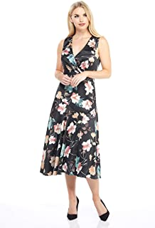 Women's Printed Floral Charmeuse Sleeveless Fit and Flare