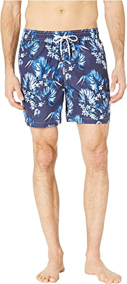 Midnight Floral Traveler Swim Trunks