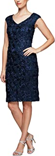 Alex Evenings Women's Shift Midi Lace Embroidered Dress